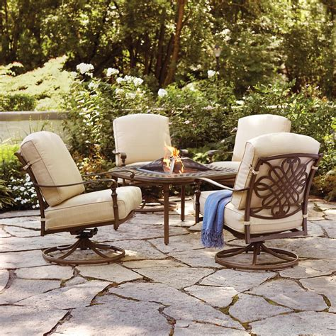 Hton Bay Cavasso 5 Piece Aluminum Outdoor Patio Fire Outdoor Patio Furniture With Pit