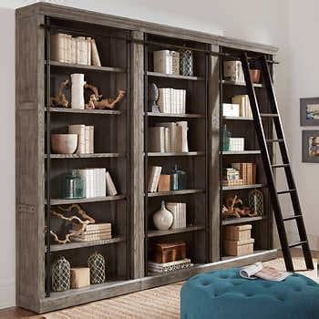 tuscan  piece bookcase wall  ladder