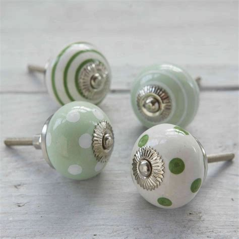 green spots and stripes ceramic cupboard drawer knobs by