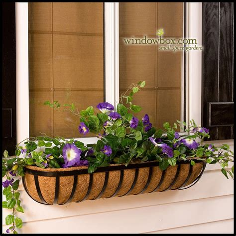 garden window basket w coco liner hayrack - Window Box Baskets