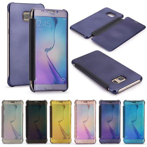 Samsung Galaxy S6 Edge Mirror Kaca Clear Flip Cover for samsung galaxy s7 edge mirror clear view window smart flip cover ebay