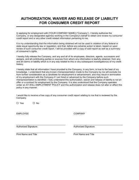 Credit Report Authorization Form Template Word Authorization Waiver And Release For Employee Credit Report Template Sle Form Biztree