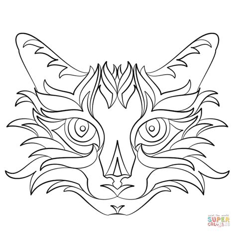 Abstract Cat Coloring Pages | abstract cat printable coloring page coloring home