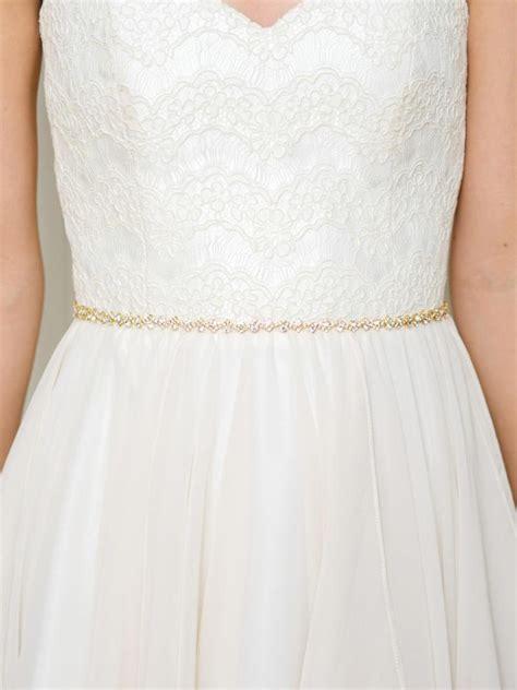 gold thin bridal belt gold bridal sash wedding
