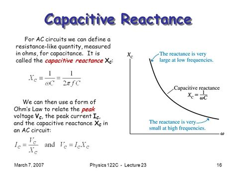 capacitive reactance of a circuit physics 122b electricity and magnetism ppt