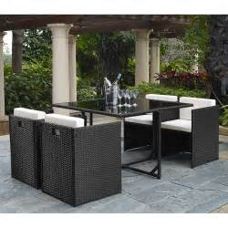 Outdoor Set by Outdoor Indoor 5 Piece Rattan Wicker Cube Dining Table