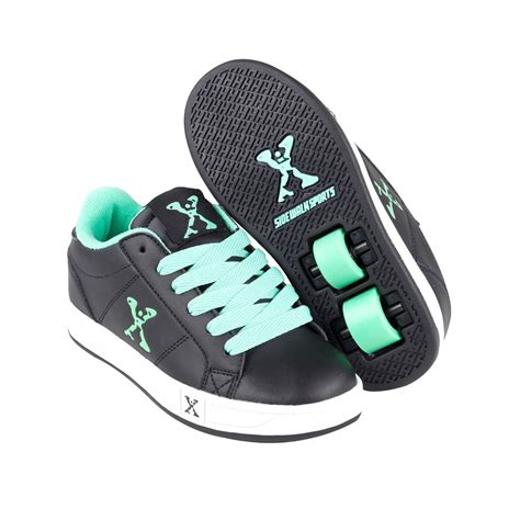 wheeled shoes for sidewalk sport lace up flat skate wheeled