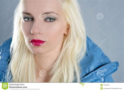 blonde girl with red lipstick blond beautiful girl portrait red lips stock photography