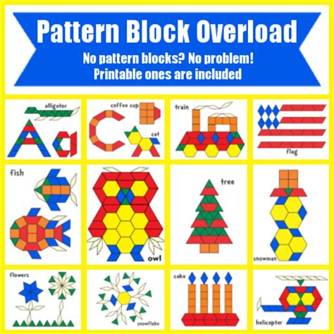 kindergarten pattern blocks printables free pattern block templates