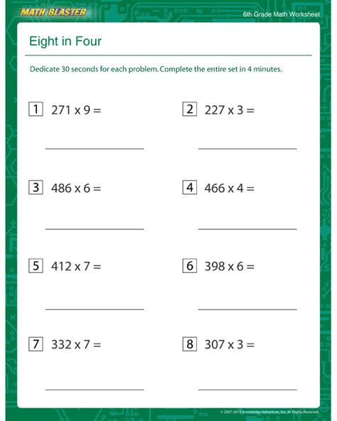 Free 6th Grade Math Worksheets by Eight In Four Free Multiplication Printable For 6th