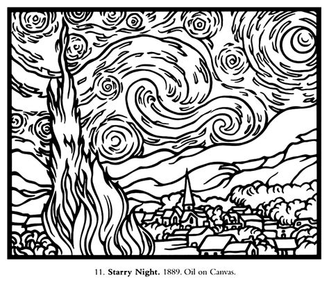 coloring pages for van gogh free coloring page coloring adult van gogh starry night