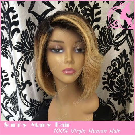 two toned bangs hairstyles for african american bob wigs short synthetic hair wigs bleached knots lace