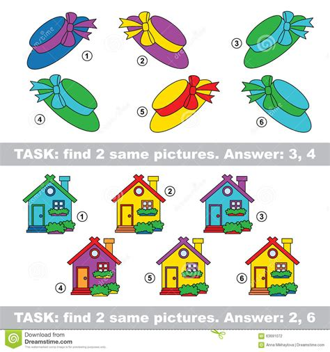 find related colors visual game find hidden pair of gift and house stock
