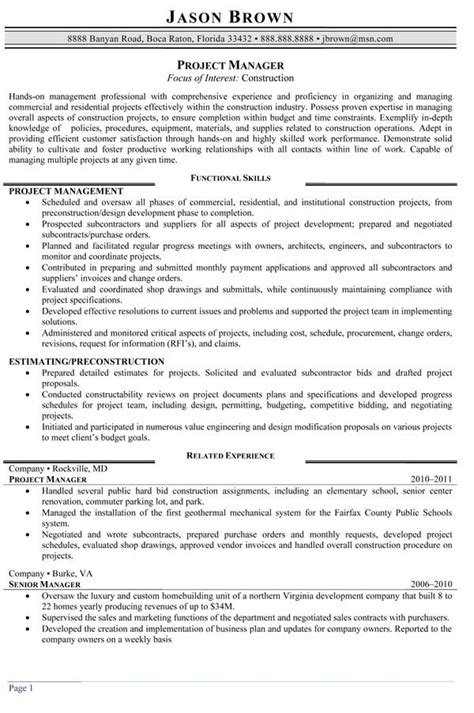 Construction Manager Resume by Construction Resume Sles Resume Professional Writers
