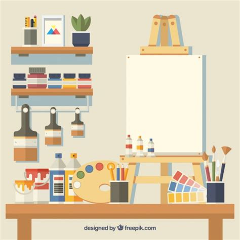 drawing studio free studio with many elements vector free