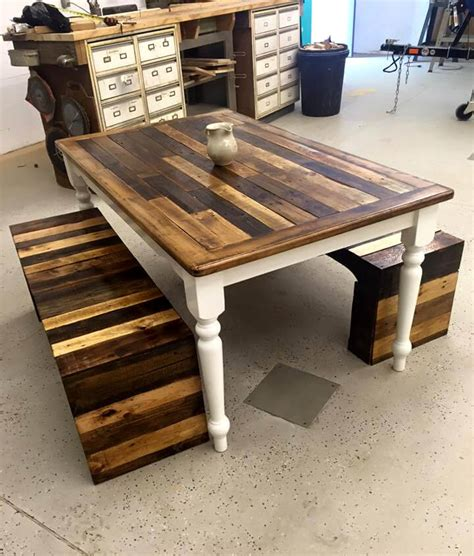wooden pallet dining table wood pallet benches and table set