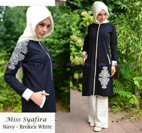 Dress Tunik Putih Navy baju muslim syafira g844 model busana muslimah pesta