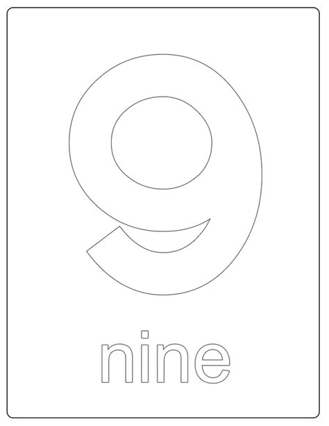 coloring page for number 9 number 9 coloring pages coloring home
