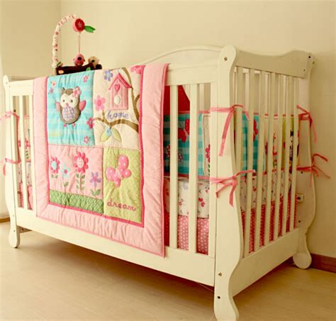 Owl Print Baby Girl Crib Bedding Set 4pcs In Bedding Sets Baby Owl Crib Bedding Sets