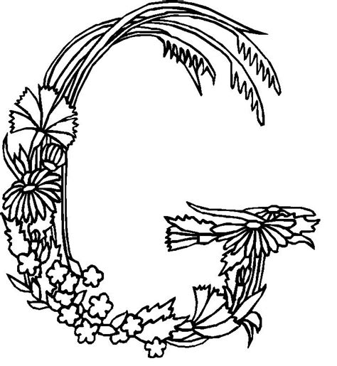 alphabet coloring pages with flowers free coloring pages of g