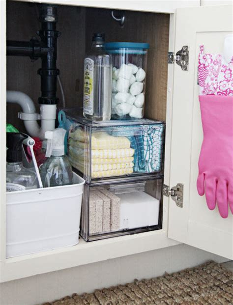 great idea for supplies under the kitchen sink too under the sink organization bathroom and kitchen