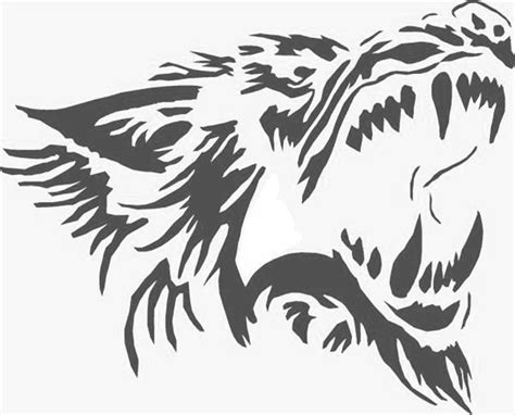 wolf stencil template hauntedpumpkins hauntedpumpkins