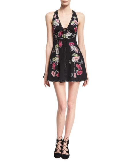 Sf 725 Flower Embroidery Flare marc floral embroidered sleeveless fit flare minidress black neiman