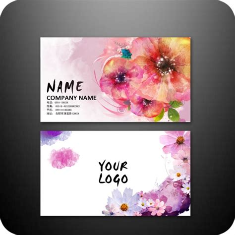 colorful flower business card design psd free vector