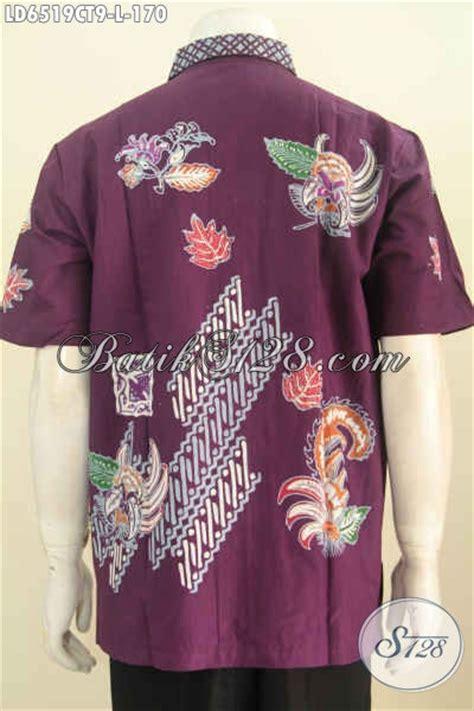 kemeja batik halus berbahan adem proses cap tulis motif baju kemeja batik halus warna ungu pakaian batik keren