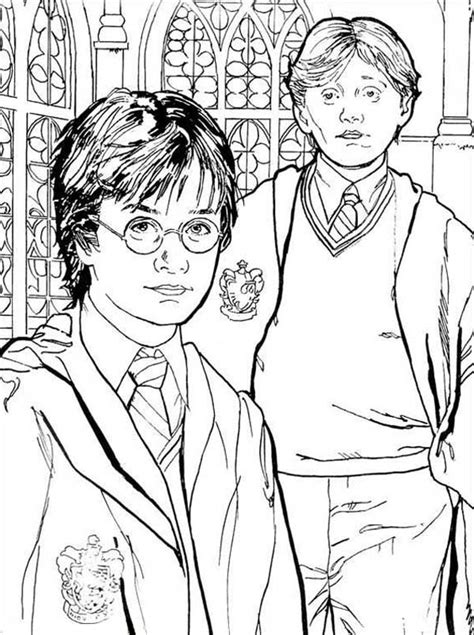 free harry ron and hermione coloring pages halloween harry potter and ron are best friend coloring page
