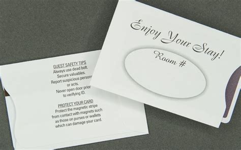 Enjoy Your Sleeve enjoy your stay hospitality card sleeve information