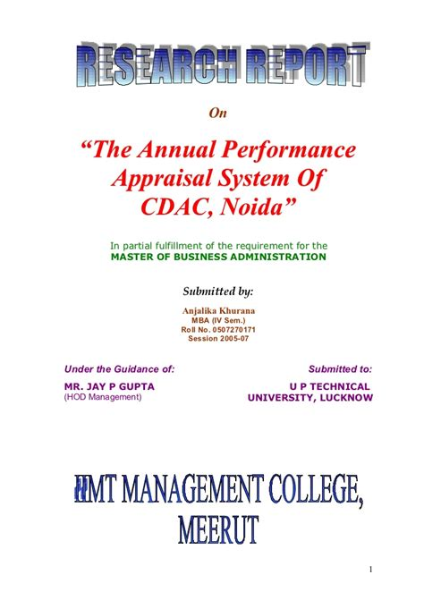 Cdac Mba It Syllabus by Performance Appraisal System Cdac