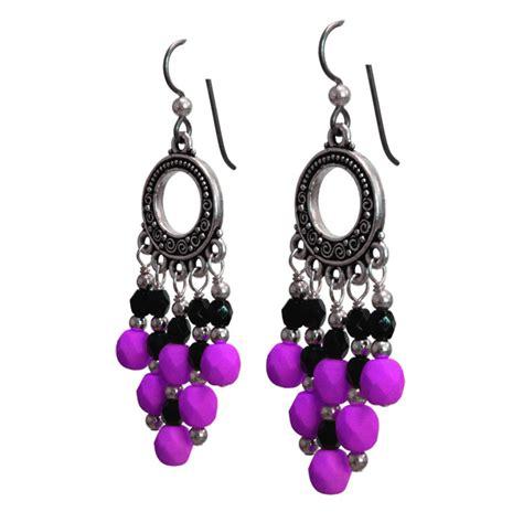 Purple Chandelier Earrings Neon Purple Earrings 65mm Length Matte Purple Earrings Silver Chandelier Earrings