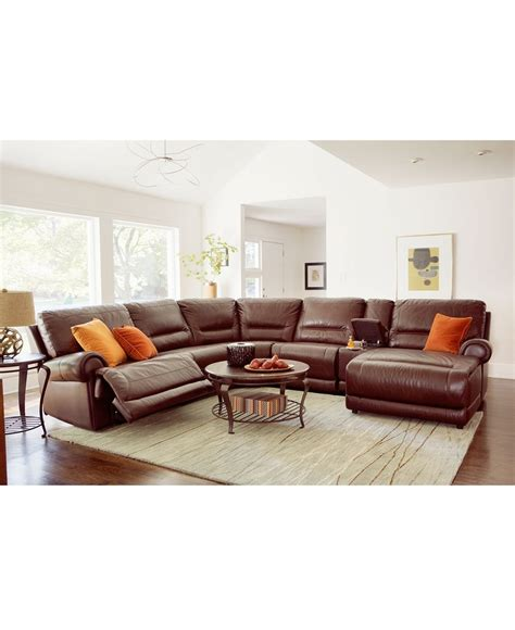 macys leather sectional and with power recliners to boot