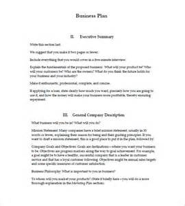 Sample Business Plan Templates Free Business Plan Sample Template Free