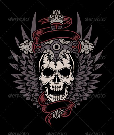 cross tattoo backgrounds winged skull with cross illustrations and