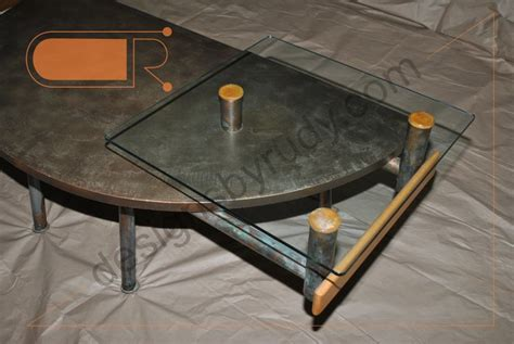 custom glass top for coffee table custom coffee table concrete glass tops copper tubing legs