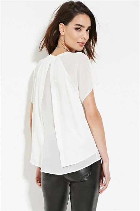 Back Tops Lyst Forever 21 Contemporary Split Back Top In White