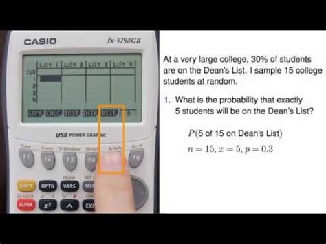 tutorial casio fx 9750gii binomial distribution doovi