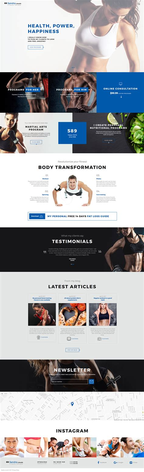 Sandra Lincoln Personal Fitness Trainer Responsive Website Template 61358 Fitness Trainer Website Templates