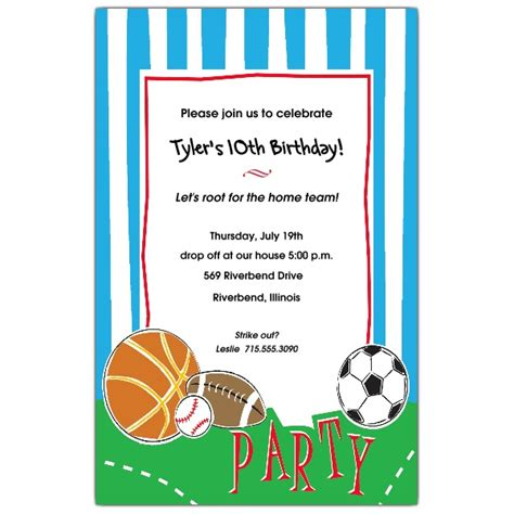 sports themed birthday invitations sports party birthday invitations paperstyle