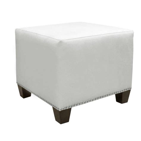 Microsuede Ottoman Skyline Furniture Square Ottoman In Premier Microsuede White The Home Depot Canada