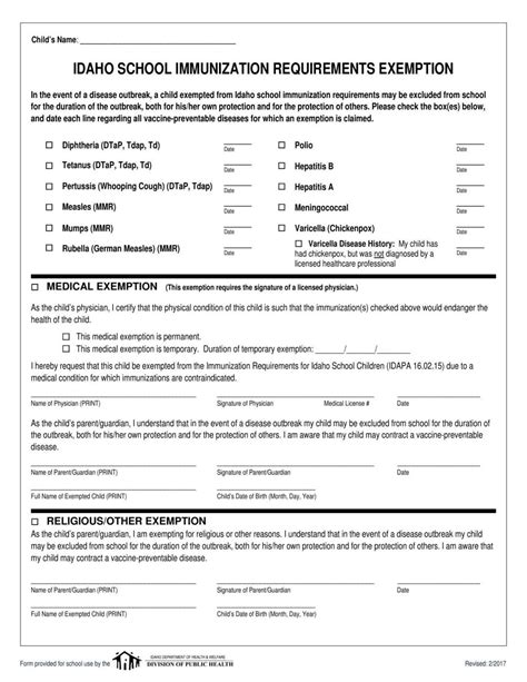 Immunization exemption form | | idahopress.com