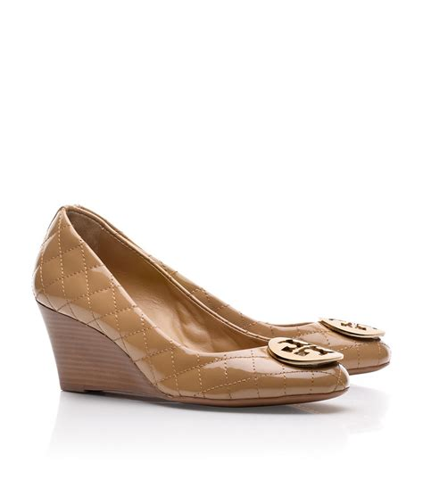 Burch Quilted Wedge burch quinn quilted leather wedge in beige sand lyst