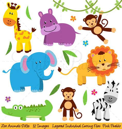 free printable zoo animal pictures zoo animals svgs zoo safari jungle animals cutting templates
