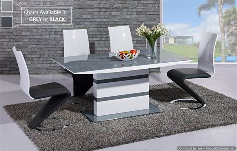 gray dining table and chairs arctic grey glass and white gloss extending dining table
