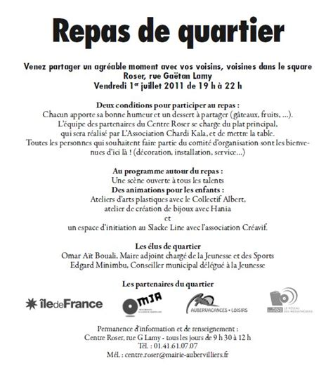 Exemple De Lettre D Invitation Pour Repas Exemple Modele Invitation Repas De Quartier
