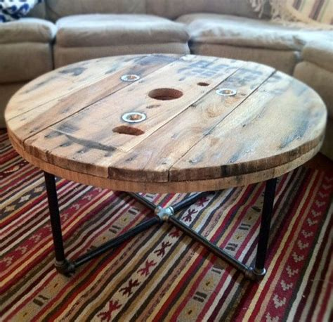 reclaimed wood spool coffee table arrows and