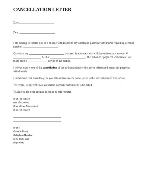 cancellation of visa letter format cancellation letter sles writing professional letters