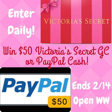 Victoria Secret Gift Card Giveaway - 50 victoria s secret gift card or 50 paypal cash giveaway open ww ends 2 14